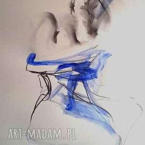 kobaltowa suknie 100x70, duży obraz do salonu, sypialni, niebieska