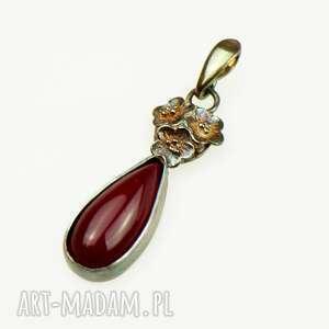 wisiorki wisiorek z czerwonym agatem artystyczny a853, ze srebra