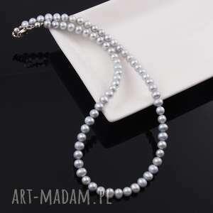 naszyjnik z naturalnych pereł jasno szary - klasyka, srebro