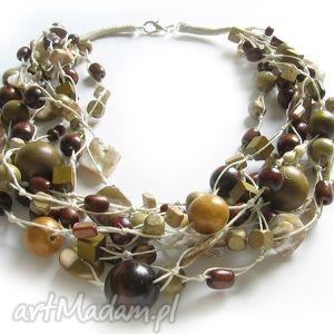 rustik , drewno, pleciony, naturalny, naszyjnik, korale naszyjniki biżuteria