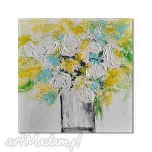bukiet, abstrakcja, nowoczesny obraz ręcznie malowany, kwiaty, obraz
