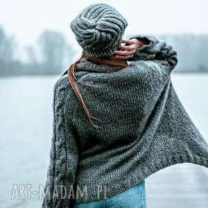 ręczne wykonanie swetry obszerny kardigan z kid mohairu