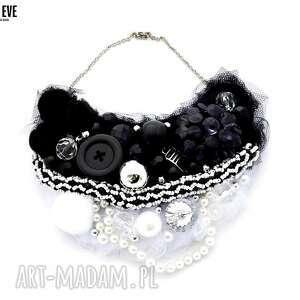 black white naszyjnik handmade, naszyjnik, czarnobiały, czarny