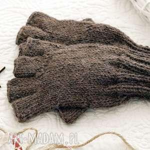 bezpalczatki 9 - mitenki męskie rękawiczki alpaka, wełniane dziergane