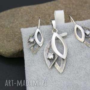 komplet srebrny kolczyki i zawieszka z kryształkie, komplet, srebrny, ażurowy