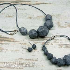 Komplet biżuterii : nowoczesna geometria - granit, kamień, komplet, fimo