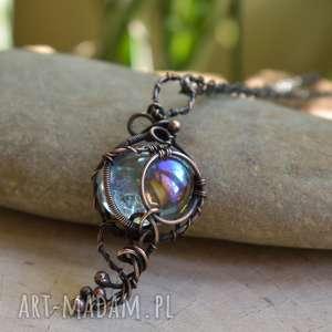 rainbow glass - naszyjnik w miedzi i szkła, z miedzi, tęczowy