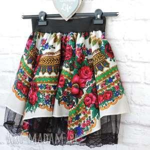 folky damska biała spódnica góralska z chusty folk cleo, spódnica, spódniczka