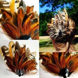 hand-made ozdoby do włosów fascynatora broszka z piór - kolorowe szaleństwo odcienie