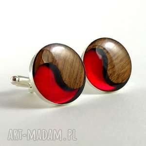 hand-made spinki do mankietów - simply yin yang red