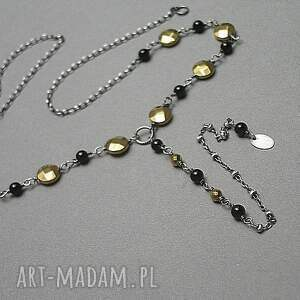 Black /gold/ - naszyjnik, srebro, hematyt, onyks, choker