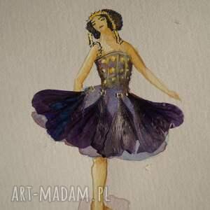 liliowa baletnica - mini akwarela z suszonymi płatkami - minimalistyczna