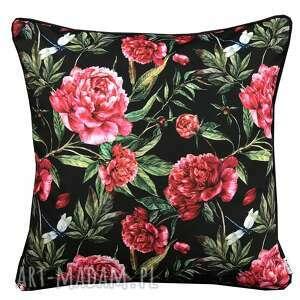 poduszka welur piwonie 45x45cm w kwiaty, welurowa, kwiaty