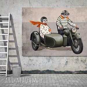 Obraz na płótnie - 120x80cm kurczaki motocyklu wysyłka w 24h