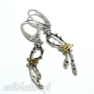 kolczyki srebrne, kolczyki, 925, złocone, długie biżuteria