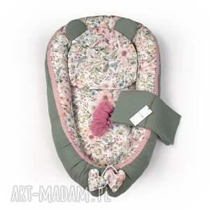 handmade dla dziecka zestaw dziecka, kokon, kocyk, poduszka drobne kwiaty