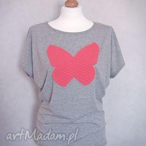 Pikowany motyl - koszulka z aplikacją, koszulka, bluzka, szara, pikowany,