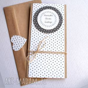 ręcznie robione kartki pamiątka chrztu świętego:: black&white