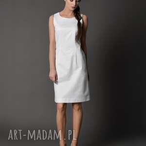 sukienka klasyczna/ śnieżnobiała - S(36) ZELINA, biała, prosta-sukienka, dopasowana