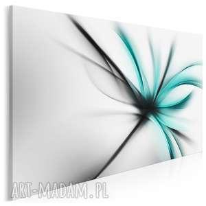 obraz na płótnie - abstrakcja kwiat nowoczesny turkus 120x80 cm (55602)