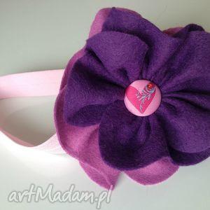 handmade dla dziecka opaska niemowlęca - duży liliowy kwiat