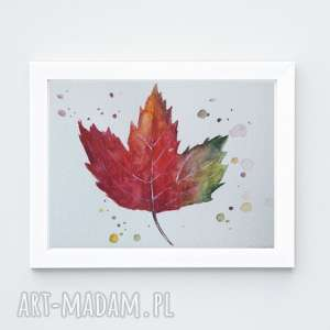 Liść-akwarela formatu a5 paulina lebida akwarela, jesień, farby