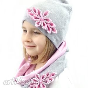handmade czapki komplet dla dziewczynki