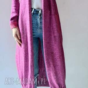 hand-made swetry bomberka długi sweter z kieszeniami