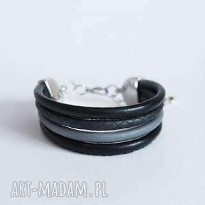 bransoletka - czarno szara rzemienie, bransoletka, klasyczna, elegancka