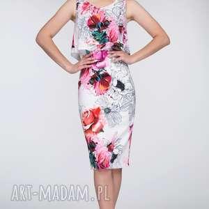 Sukienka NELLA Midi Delicja, dopasowana, top, kwiaty, falbana, ołówkowa, jasna