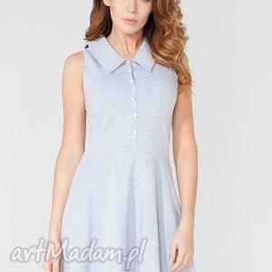 sukienka midi zapinana na guziki t115 kolor jasnoszary - tessita, sukienka