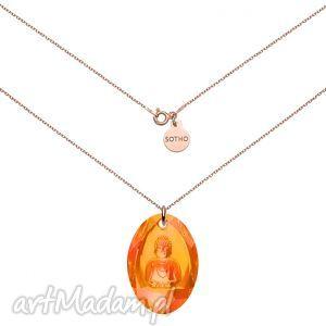 długi naszyjnik z różowego złota z pomarańczowym