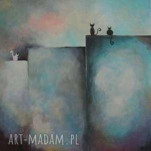 obrazy obraz na płótnie - abstrakcja z kotami 40/40 cm, abstrakcja, niebieski, czarny