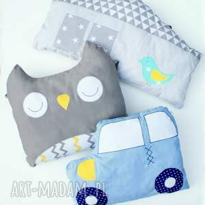 komplet ochraniaczy do łóżeczka poduszka domek sowa samochód, sowa, domek, samochód
