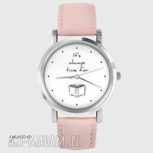 Prezent Zegarek - It is always time for a book skórzany, pudrowy róż, zegarek
