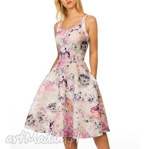 Sukienka LIZA Midi Lavinia róż (żakard) , kieszenie, midi, róż, kwiaty, ramiączka