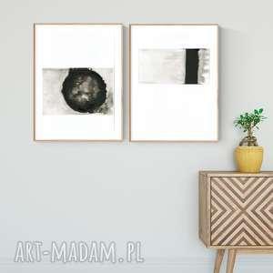 zestaw 2 obrazów A3 namalowanych ręcznie, minimalizm, obraz-ręcznie-malowany