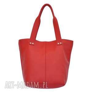 31-0014 czerwona torebka ze skóry naturalnej / efektowne przeszycia skylark