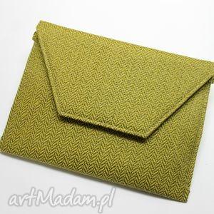 ręczne wykonanie kopertówki kopertówka - tkanina w jodełkę