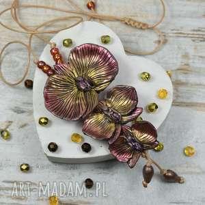 wisiorki wyjąktowy wisior orchdee w barwach jesieni, długi wisior, kwiat