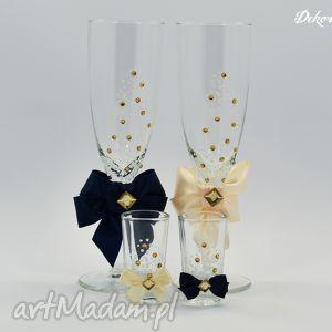 ślub zestaw 4 ręcznie malowanych kieliszków z kryształkami, kieliszki, szampanówki