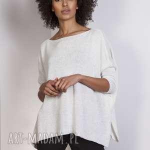 ręcznie wykonane swetry sweter oversize, swe114 ecru