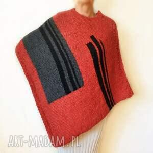 ponczo ręcznie robione na drutach, handmade /8/, poncho, ręcznie