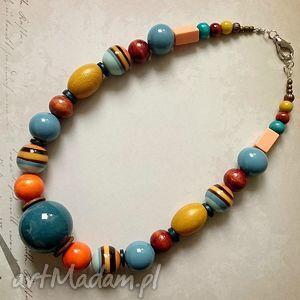 malaga - korale, naszyjnik, duży, ceramika, drewno, akryl