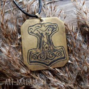 wisior z trawionego mosiądzu - młot thora 039 - wiking, thor, wikingowie