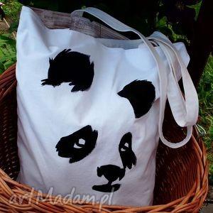 panda- torba z dowolnym ręcznie wykonanym rysunkiem, eko, rysunek, dowolny,