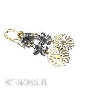 Wianki vol. 5 - kolczyki , srebro, oksydowane, pozłacane, kwiaty