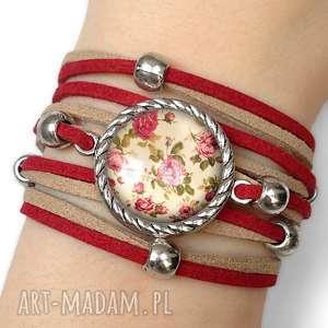 bransoletka retro róże - romantyczna, zamszowa vintage