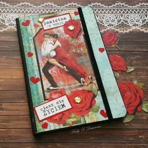 notes/sekretnik/ /ciesz się życiem, notes, róże, tango, muzyka, serce, prezent