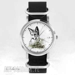 zegarki zegarek - lis czarny, skórzany, nato, zegarek, bransoletka, skórzany